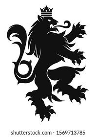 Black and white vector heraldic lion in crown.