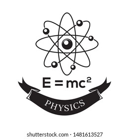Black and white vector icon science physics. E=mc2. Formula for the equivalence of mass and energy. Theory of relativity. Science atom symbol icon. Vector illustration