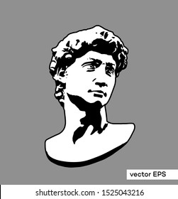 Black and white vector illustration from 3D rendering of head bust. classical sculpture isolated on grey background.