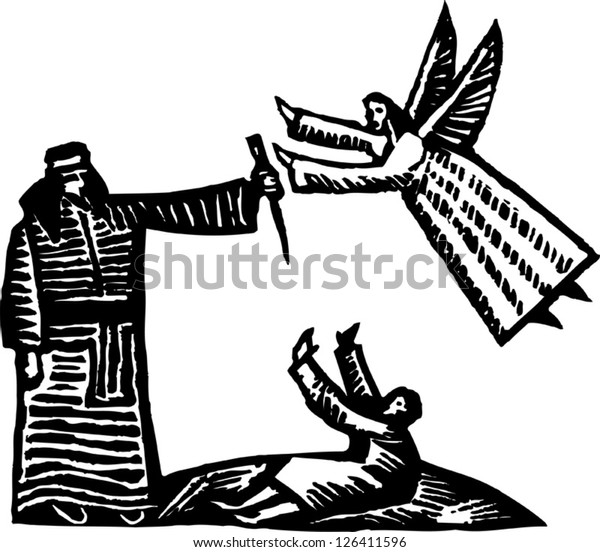 Black and white vector illustration of Abraham and an angel