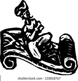 Black and white vector illustration of Ali Baba riding magic carpet