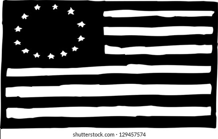 Black and white vector illustration of an American Betsy Ross flag