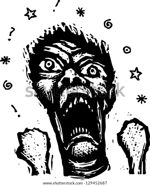 Black and white vector illustration of an angry mad man