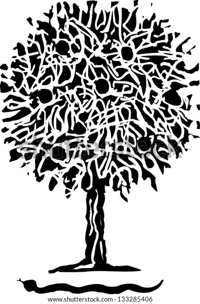 Black and white vector illustration of apple tree and serpent