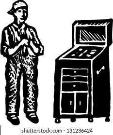 Black and white vector illustration of an auto mechanic with tools