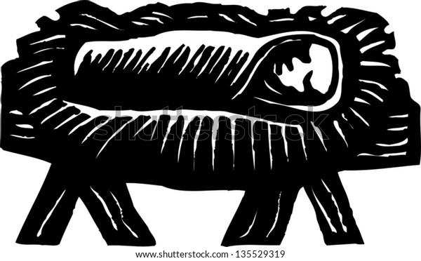 Black and white vector illustration of Baby Jesus Christ in the Manger