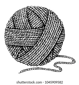 Black and white vector illustration. A ball of yarn.