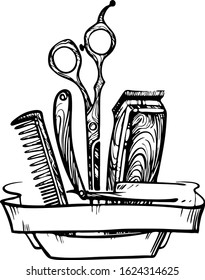 black and white vector illustration for barber shop.