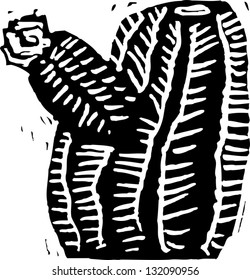 Black and white vector illustration of barrel cactus