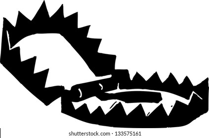 Black and white vector illustration of a bear trap