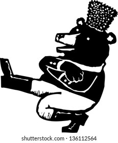 Black and white vector illustration of a bear dancing traditional Russian dance