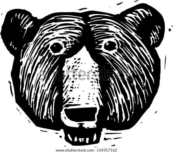 Black and white vector illustration of a bear head