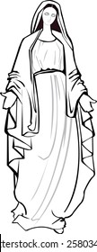 Black and white vector illustration of the Blessed Virgin Mother of God