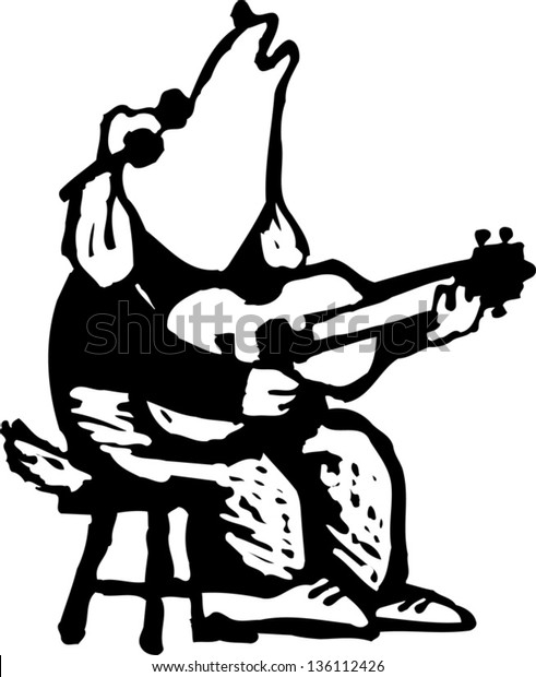 Black and white vector illustration of a blind dog playing the guitar