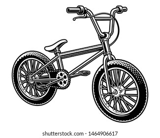Black and white vector illustration of a  bmx bicycle isolated on the white background.