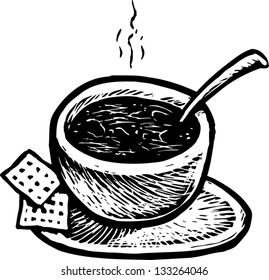 Black and white vector illustration of bowl of chilli