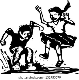 Black and white vector illustration of boy and girl jumping in puddle