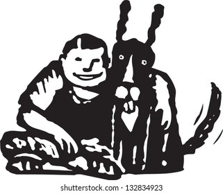 Black and white vector illustration of boy and dog