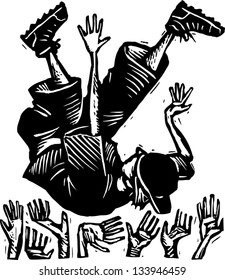 Black and white vector illustration of boy in mosh pit