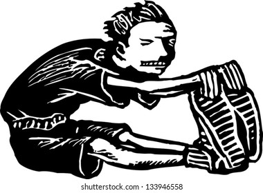 Black and white vector illustration of boy doing stretching exercise