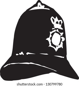 Black and white vector illustration of a British policeman hat