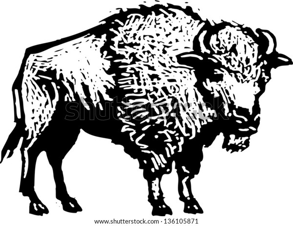 Black and white vector illustration of a buffalo