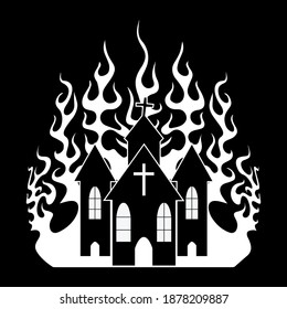 Black and white vector illustration of a burning church