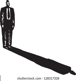 Black and white vector illustration of a businessman and his shadow