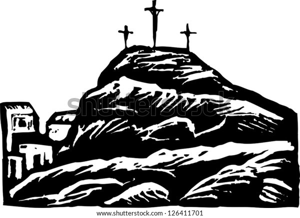 Black and white vector illustration of Calvary