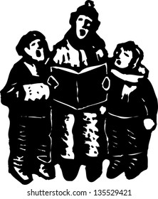 Black and white vector illustration of Carolers