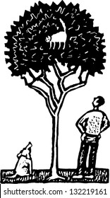 Black and white vector illustration of a cat on the tree