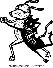 Black and white vector illustration of cat and dog dancing