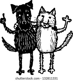 Black and white vector illustration of cat and dog friends