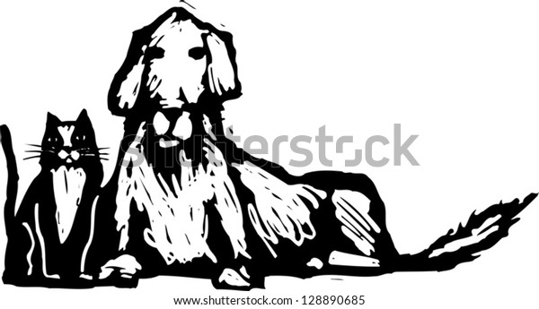 Black and white vector illustration of cat and dog