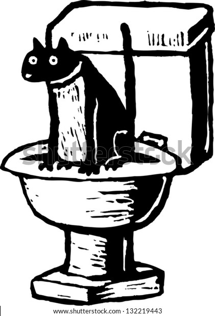 Black and white vector illustration of cat sitting on toilet