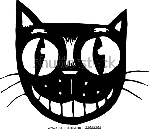 Black and white vector illustration of black cat face