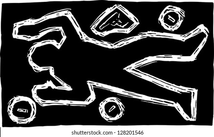 Black and white vector illustration of chalk outline of dead body at crime scene