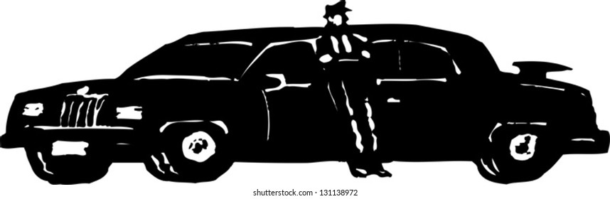 Black And White Vector Illustration Of A Chauffeur Limousine