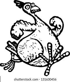 Black and white vector illustration of chicken running