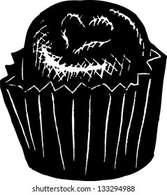 Black and white vector illustration of a chocolate candy