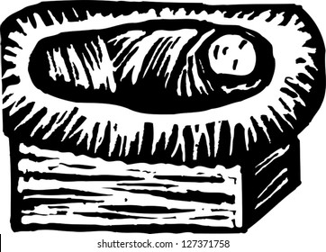 Black and white vector illustration of Christ in the manger