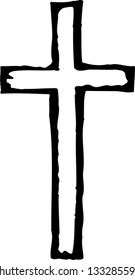 Black and white vector illustration of Christian cross