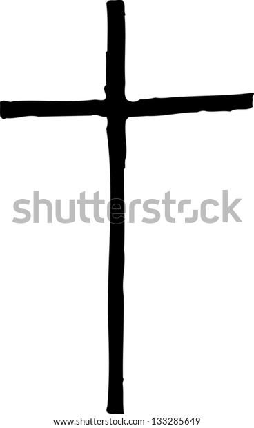 Black and white vector illustration of Christian cross