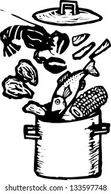 Black and white vector illustration of clam bake pot with seafood