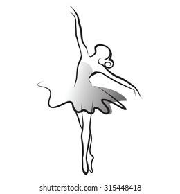 black and white vector illustration of classical ballet, figure ballet dancer