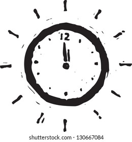 Black and white vector illustration of a clock at midnight