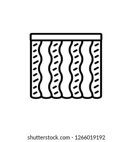 Black & white vector illustration of combi wave curtain shutter. Line icon of window vertical blind jalousie. Isolated object on white background