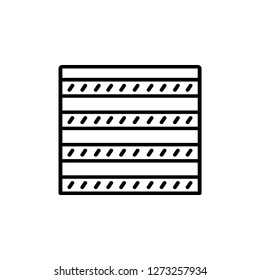 Black & white vector illustration of combi curtain shutter. Line icon of window horizontal blind jalousie. Isolated object on white background