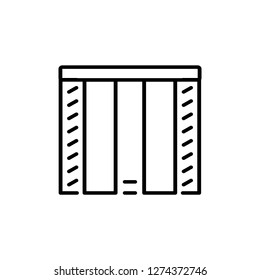 Black & white vector illustration of combi japanese curtain shutter. Line icon of window vertical blind jalousie. Isolated object on white background