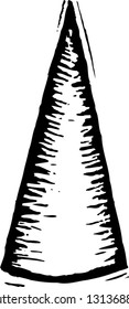 Black and white vector illustration of a cone